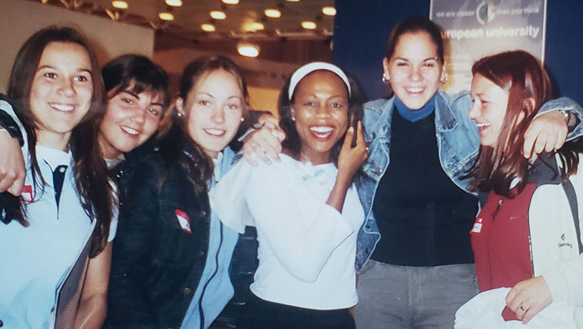 Debi Douglas with a group of girls in Spain